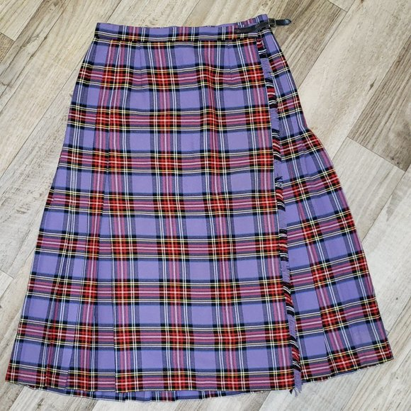 Pleated Purple/Red Plaid/Tartan Skirt/Kilt
